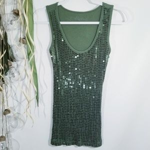 Poof! Sequin Green Ribbed Tank Size Medium